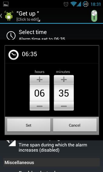 Setting Alarm Time