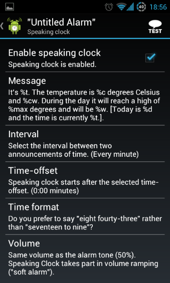 Speaking Clock Preferences