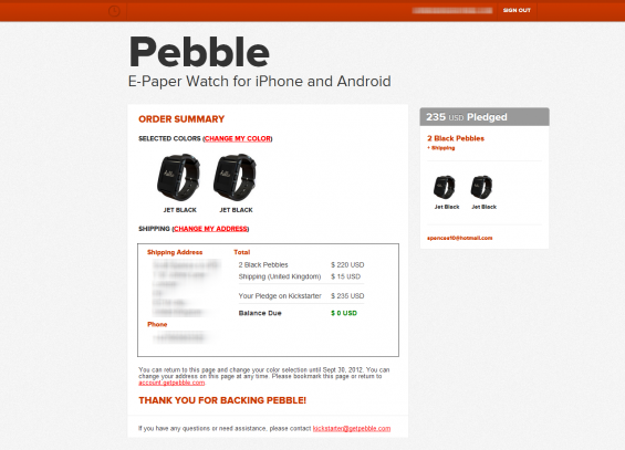 Pebble   Order Summary
