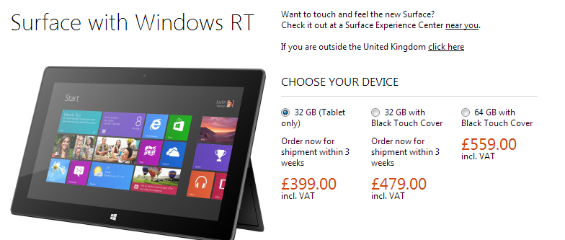 surface 32Gb sold out