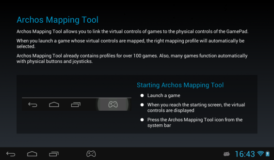 Archos Gamepad Mapping