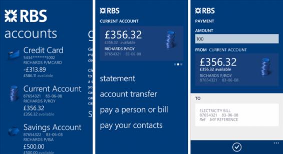 RBS App screens