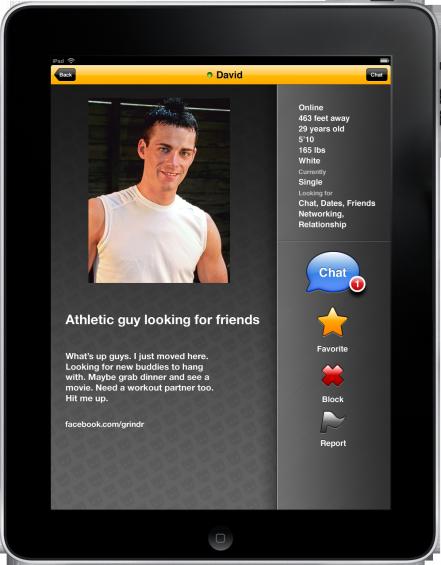 Grindr 1.5 on iPad screenshot  Profile