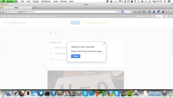 Google Keep Web Error