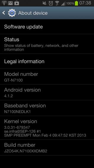 note II update screenshot