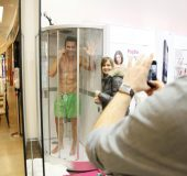 Models take a shower in public with a Sony Xperia Z