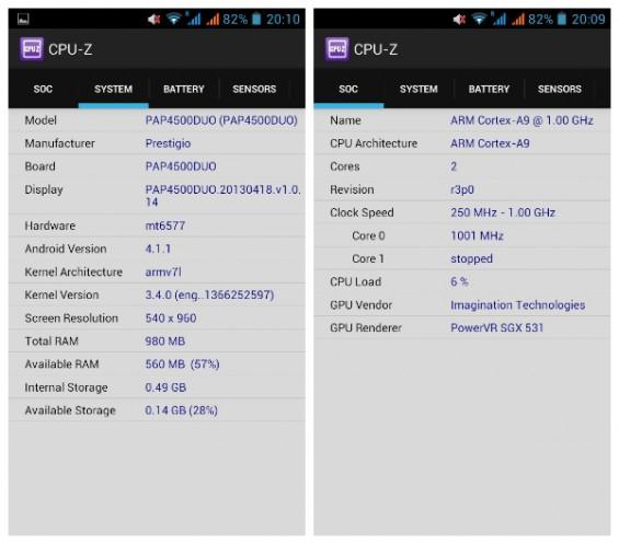 Prestigio 4500 CPU Z