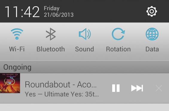 Spotify notification bar