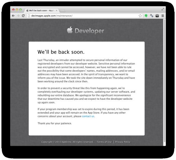 Apple dev down still