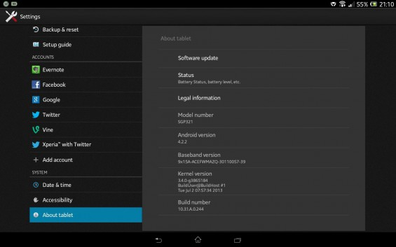 Xperia Tablet Z SGP321 Android 4.2.2 10.3.1.A.0.244 firmware update Details