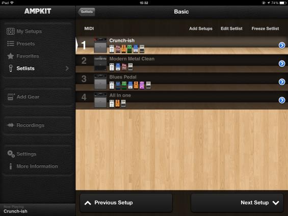 AmpKit Setlist