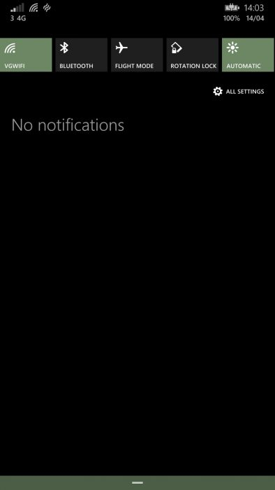 wp8.1 notification menu