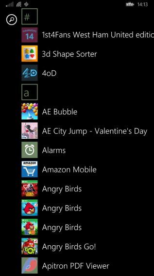 wp8.1 app list