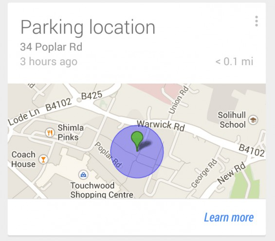 Google Now Parking