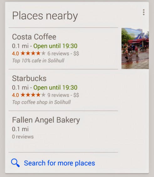 Google Now Places Nearby