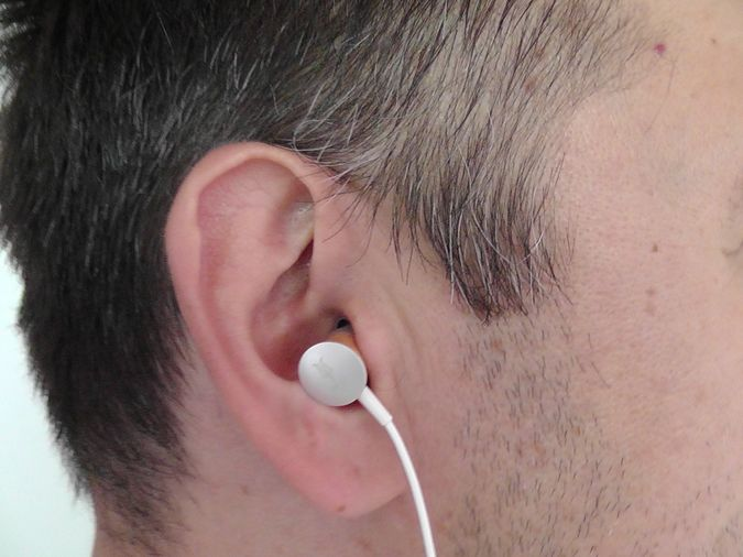 Meze 11 Deco Earphones With Wood Insertion Real life Picture In Man Ear