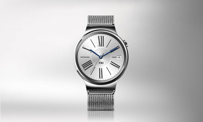 Huawei Watch HQ photos Front Silver with steel strap 2 JPG 20150724