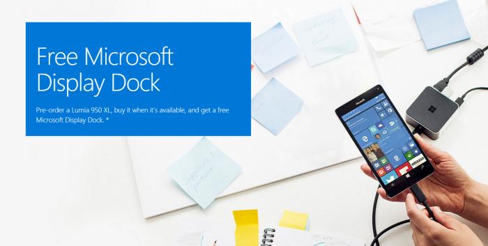 Lumia 950XL display dock