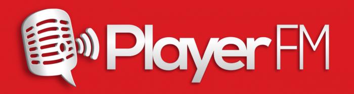 playerfm logo white on red