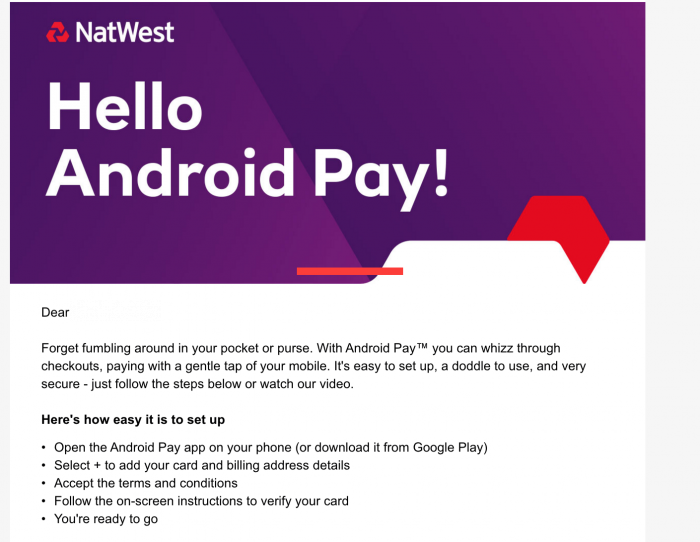 android pay for natwest bank
