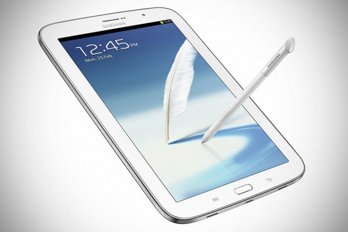 Samsung GALAXY Note 8 0 Tablet White quarter Front with S Pen