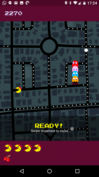 Pacman on Google Maps
