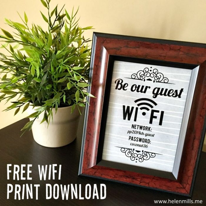 6ab7ff633dcfbf9f321d48b4c1bf4953  be out guest sign bedroom guest room wifi