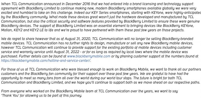 No more BlackBerry handsets from TCL