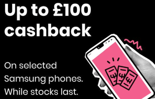 Grab £100 cash back with giffgaff Samsung kit