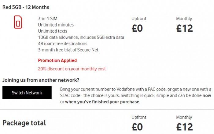SIM only Vodafone deal. £12 per month for 10GB