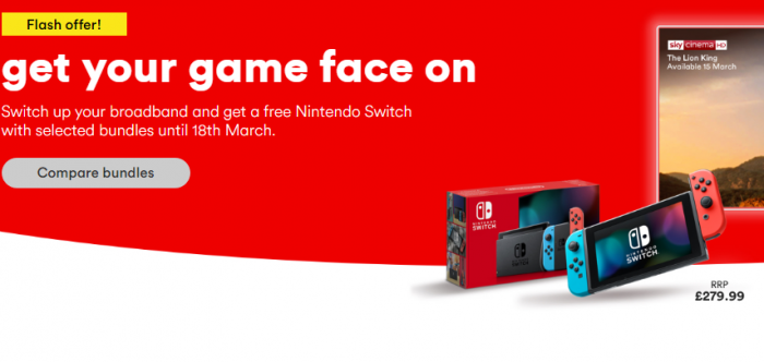 Stuck at home with the kids? Get a free Nintendo Switch with Virgin Media
