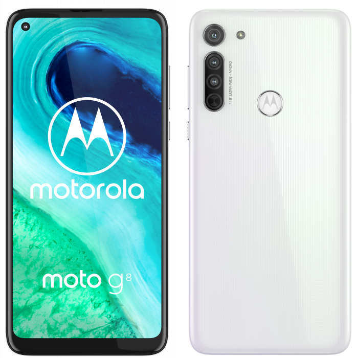 moto g8 ROW Pearl White Side by Side