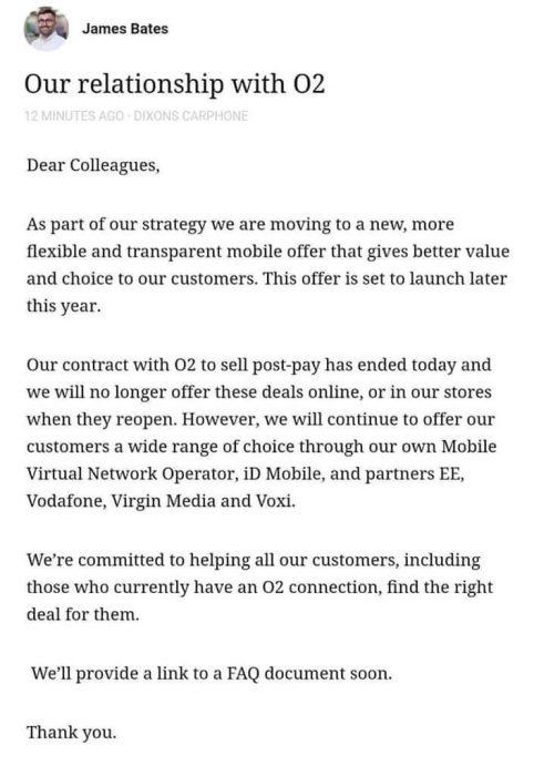 No more O2 deals with Carphone Warehouse