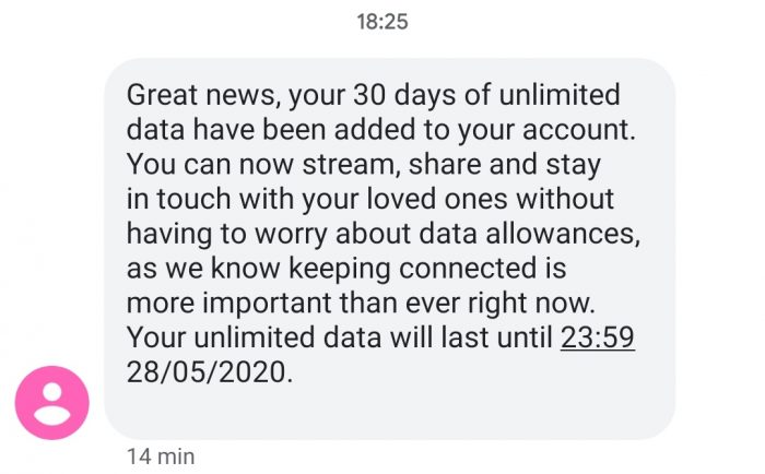Free unlimited data for Vodafone customers