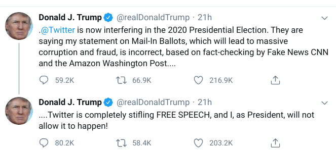 Donald Trump uses Twitter to attack Twitter