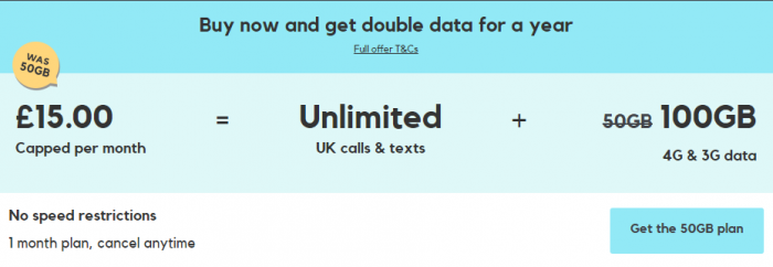 SMARTY   100GB Monthly data for £15 per month