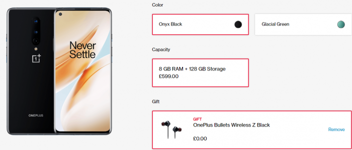 Free OnePlus Wireless Z Bullets when you get a OnePlus 8