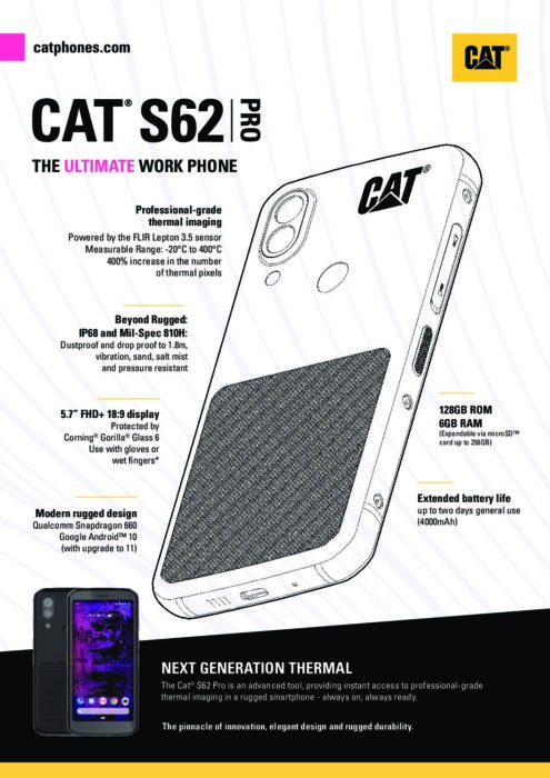 Cat S62 Pro Spec Sheet