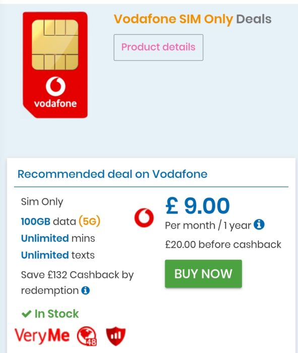 100GB of data on Vodafone? Just £9 per month