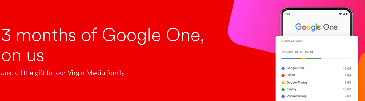 Google One – Three months free for Virgin Media customers