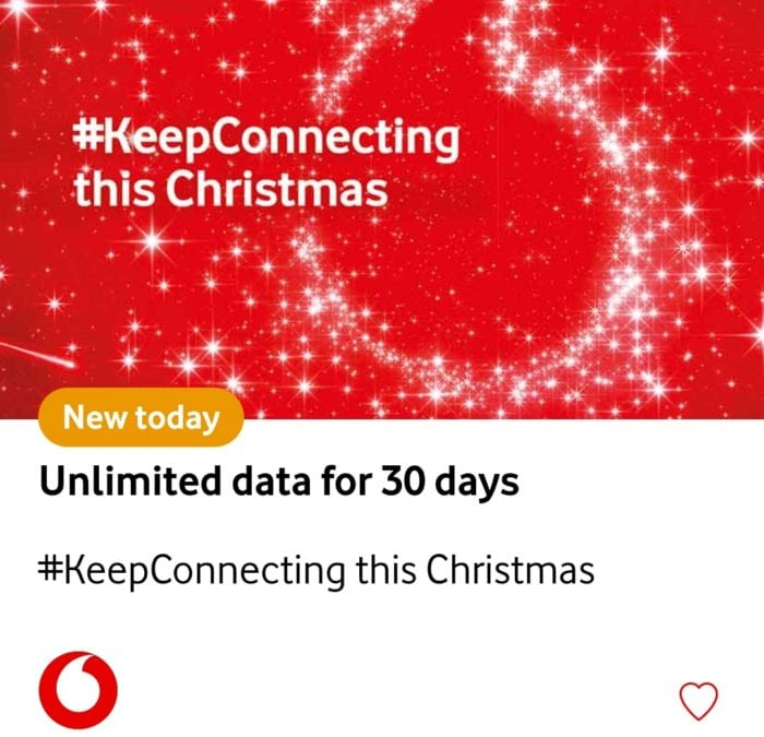 Just in time for Christmas   30 days of unlimited data on Vodafone