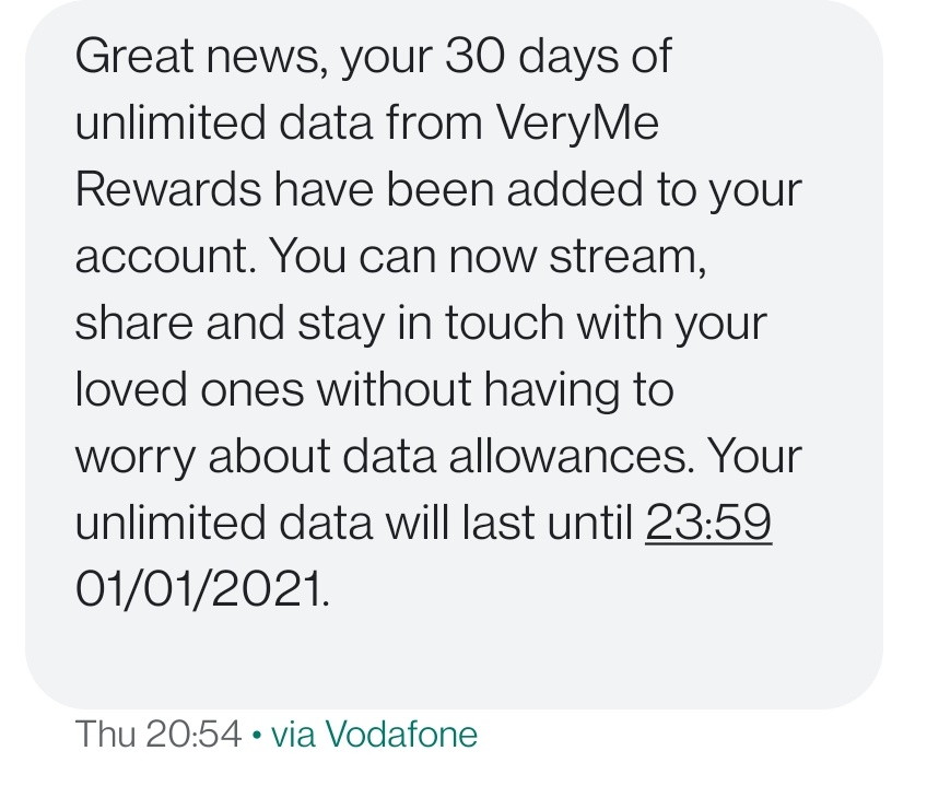That Vodafone unlimited Christmas data is full speed too
